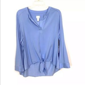CHICO'S Blue Long Sleeve Tie Front Hi-Low Blouse 2